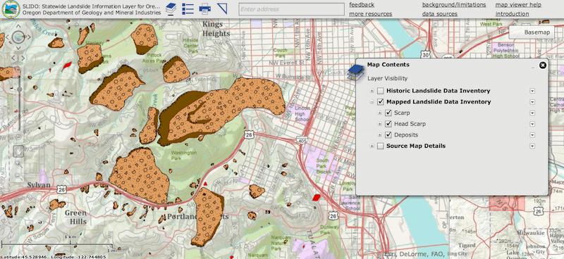 Landslide Maps Oregon on a Landslide Web Map